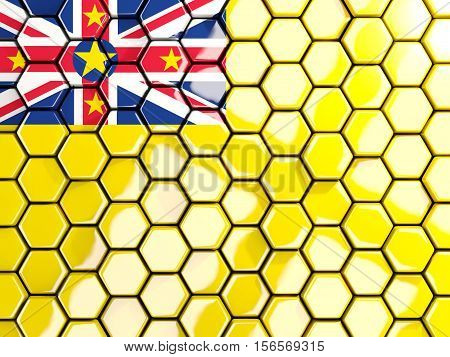 Flag Of Niue, Hexagon Mosaic Background