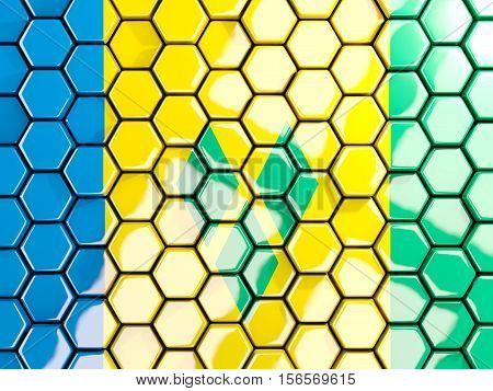 Flag Of Saint Vincent And The Grenadines, Hexagon Mosaic Background