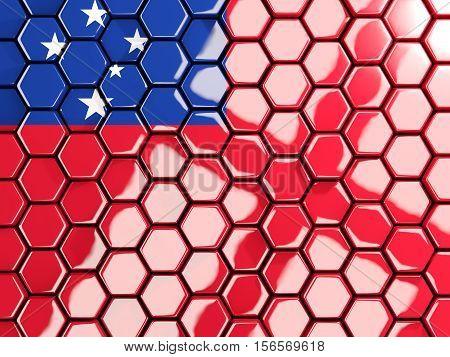 Flag Of Samoa, Hexagon Mosaic Background