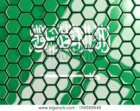 Flag Of Saudi Arabia, Hexagon Mosaic Background