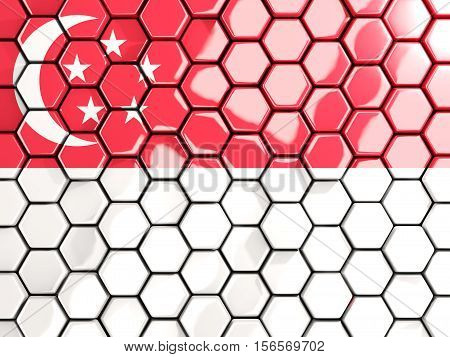 Flag Of Singapore, Hexagon Mosaic Background