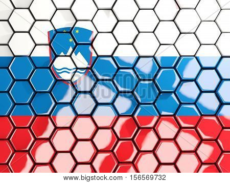 Flag Of Slovenia, Hexagon Mosaic Background
