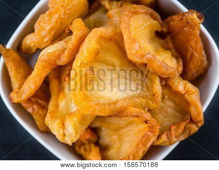 Slate Slab With Dried Pears (close-up Shot)