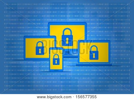 Computer antivirus protection vector illustration. Computer with lock sign. Data security technology graphic design. Firewall software to protect your privacy from viruses concept.