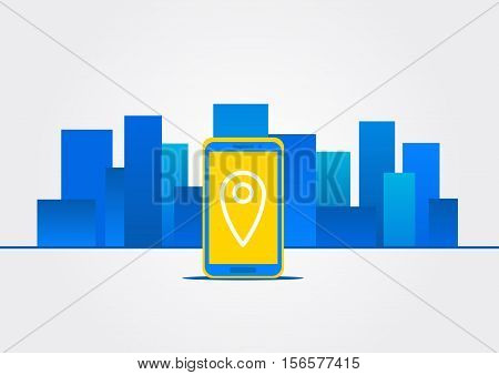 Map location on device vector illustration. Navigation sign on mobile phone screen concept. GPS technology in city landscape graphic design. Map pointer navigation of destination and position.
