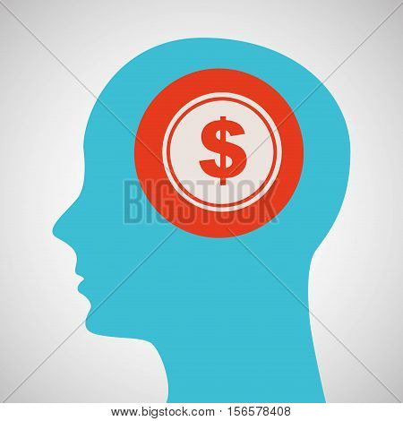 blue silhouette head money dollar icon design vector illustration eps 10