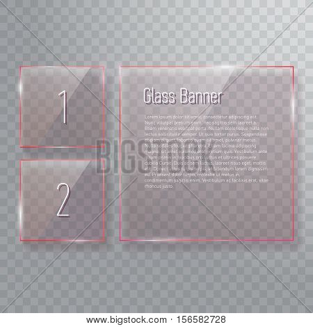 Collection of transparent reflecting square glass banners with gloss reflection effect. Vector illustration icons set.