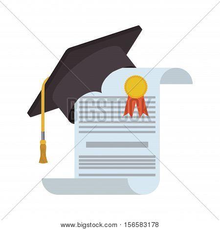 Graduation cap and diploma icon. Graduation university education and school theme. Isolated design. Vector illustration