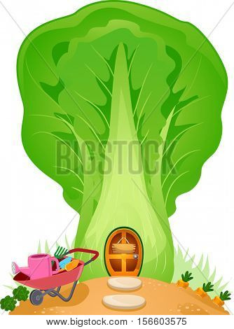 Colorful and Whimsical Illustration of a Fancy House Shaped Like a Cabbage with a Mini Garden in Front