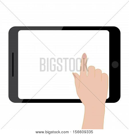 Female hands holding tablet computer touch screen. Blank tablet screen. Touch screen of tablet. Vector illustration flat design style.
