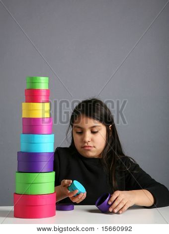 young girl play a game