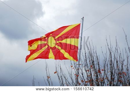picture of a Republic of Macedonia flag on the mast