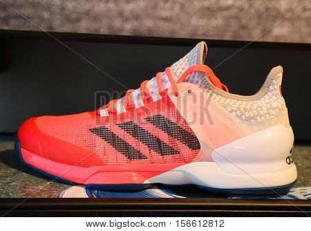 NEW YORK - AUGUST 28, 2016: Adidas presents new tennis shoes Adizero Ubersonic 2.0 during US Open 2016 at Billie Jean King National Tennis Center in New York