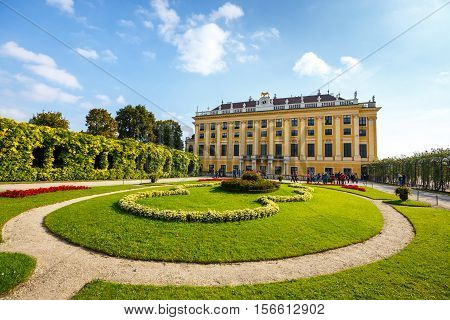 Vienna Austria October 14 2016: Schonbrunn Palace in Vienna. Baroque palace is former imperial summer residence located in Vienna Austria