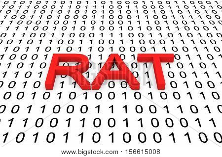 RAT in the form of binary code, 3D illustration