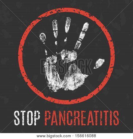 Conceptual vector illustration. Human diseases. Stop pancreatitis.