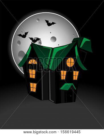 Haunted house in moonlight vector character design