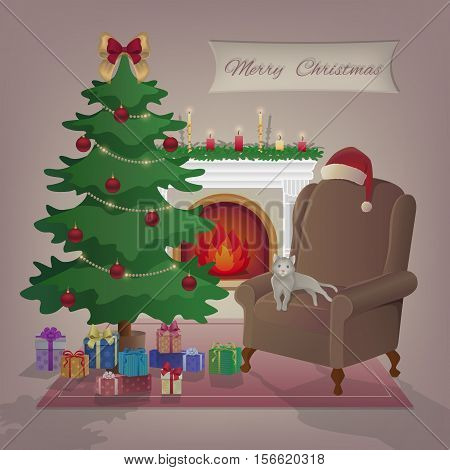 Merry Christmas greeting card. A cozy home interior with a burning fireplace, armchair, cat, christmas tree, gifts, candles, decorations, Santa Claus hat. Waiting for the holidays. Vector illustration