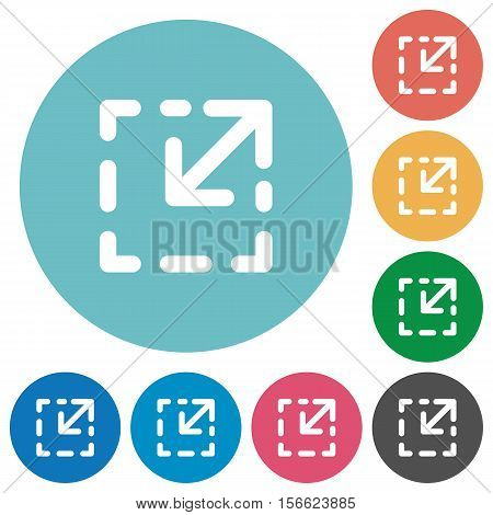 Resize element white flat icons on color rounded square backgrounds