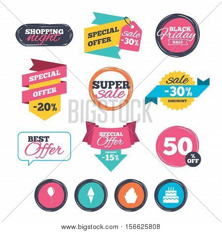 Sale stickers, online shopping. Birthday party icons. Cake with ice cream signs. Air balloon with rope symbol. Website badges. Black friday. Vector