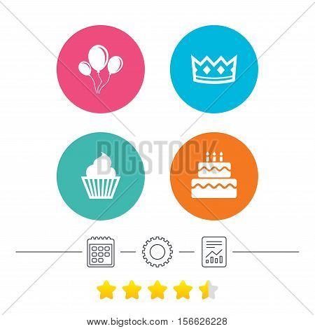 Birthday crown party icons. Cake and cupcake signs. Air balloons with rope symbol. Calendar, cogwheel and report linear icons. Star vote ranking. Vector