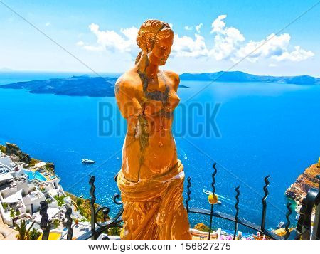 Santorini Greece - Statue of Aphrodite in Santorini Greece