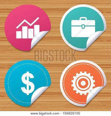 Round stickers or website banners. Business icons. Graph chart and case signs. Dollar currency and gear cogwheel symbols. Circle badges with bended corner. Vector
