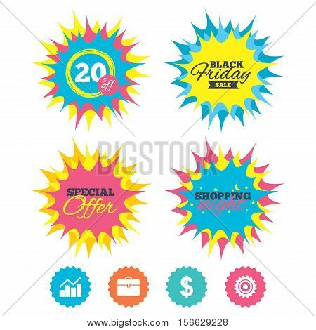 Shopping night, black friday stickers. Business icons. Graph chart and case signs. Dollar currency and gear cogwheel symbols. Special offer. Vector
