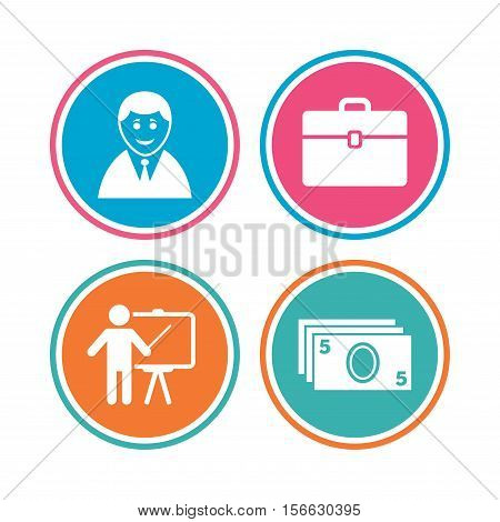 Businessman icons. Human silhouette and cash money signs. Case and presentation symbols. Colored circle buttons. Vector