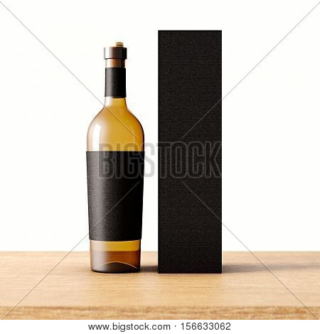 Closeup one transparent glass bottle of wine on the wooden desk, white wall background.Empty glassy container concept with black mockup label and carton paper bag for bottles.3d rendering. Front view
