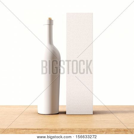 Closeup one not transparent white glass bottle of wine on the wooden desk, gray wall background.Empty glassy container concept with mockup label and carton paper bag for bottles.3d rendering Front view