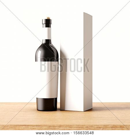 Closeup one not transparent black glass bottle of wine on the wooden desk, white wall background.Empty glassy container concept with gray mockup label and carton paper bag for bottles.3d rendering