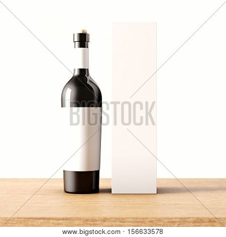 Closeup one not transparent black glass bottle of wine on the wooden desk, white wall background.Empty glassy container concept with gray mockup label and carton paper bag.3d rendering.Front view