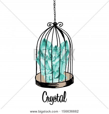 Hand drawn illustration cage and watercolor blue minerals