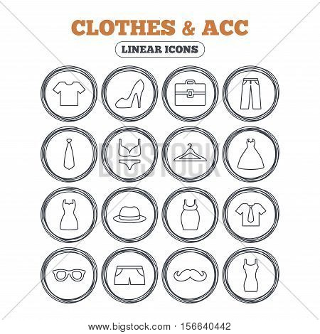 Clothes and accessories icons. Shirt with tie, pants and woman dress symbols. Hat, hanger and glasses thin outline signs. Underwear and maternity clothes. Circle flat buttons with linear icons. Vector