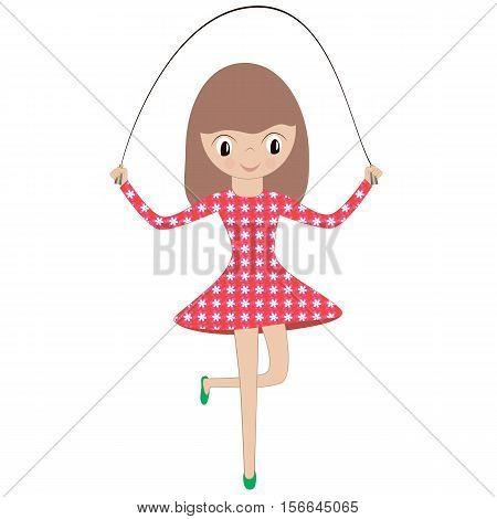 Illustration of a little girl in a red dress playing a skipping rope on a white background. Vector.