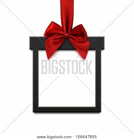 Blank, black square banner in form of Christmas gift with red ribbon and bow, isolated on white background. Brochure or banner template. Vector illustration.