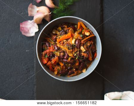Red beans and vegetables, stew with tomato sauce