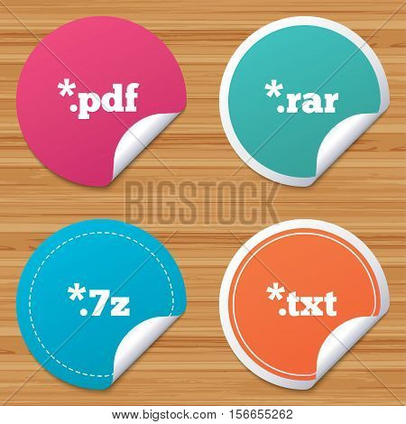 Round stickers or website banners. Document icons. File extensions symbols. PDF, RAR, 7z and TXT signs. Circle badges with bended corner. Vector