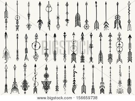 Big set of hand drawn tribal arrows for design element and tattoo - Stock Vector