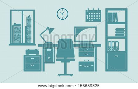 Home or office workplace with table bookcase window. Flat vector illustration.