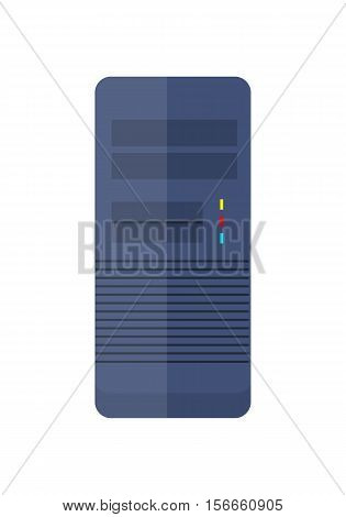 Front view of blue computer system unit. Case computing system. Computer icon. Computer system icon. Isolated object on white background. Vector illustration.