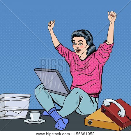 Pop Art Excited Young Woman with Laptop Sitting on the Office Desk with Papers. Vector illustration
