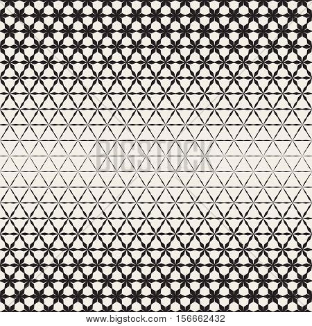Triangular Star Shapes Halftone Lattice. Abstract Geometric Background Design. Vector Seamless Black and White Pattern.