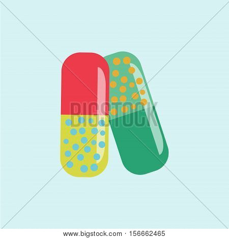 Medical pills and tablets. Heap of colorful capsules and pills on blue circle background.