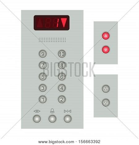Metal elevator control panel with round buttons with numbers of floors