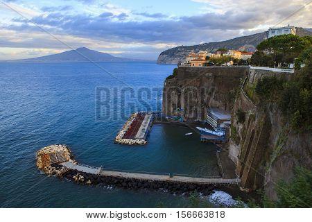 rock cliff of sorrento coast mediterranean sea south italy