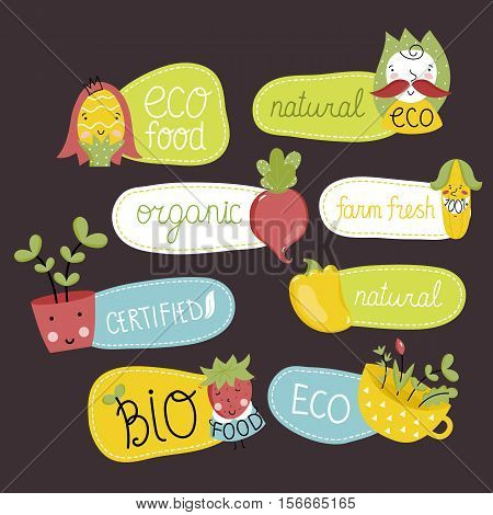 Eco and bio food labels set isolated on perpl background. Natural products stickers with beet, cabbage, peppers, corn and strawberries cartoon characters. Eco friendly products. Vegetarian food diet