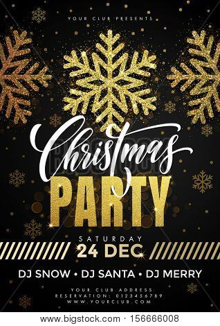 Gold glitter snowflakes on Christmas party poster template, flyer, banner. Black background with Christmas decorations, decorative golden elements