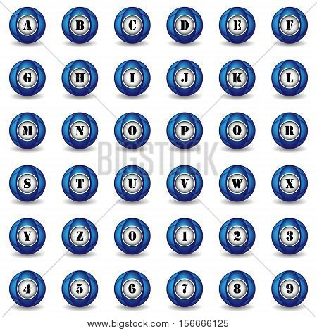 Collection of 36 isolated blue icons (buttons) on white background with shadows - alphabet (letters) and numerals